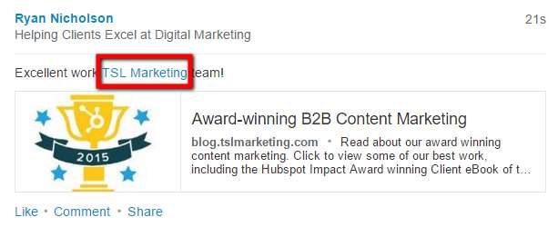 example-of-linkedin-company-mention