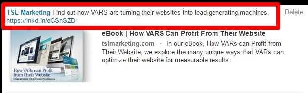 example of social media post copy TSL Marketing website offer for VARS