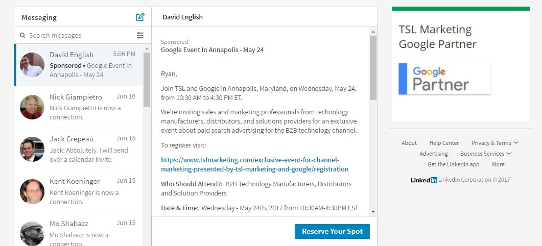 example of linkedin sponsored inmail