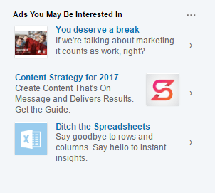 example of linkedin text advertising