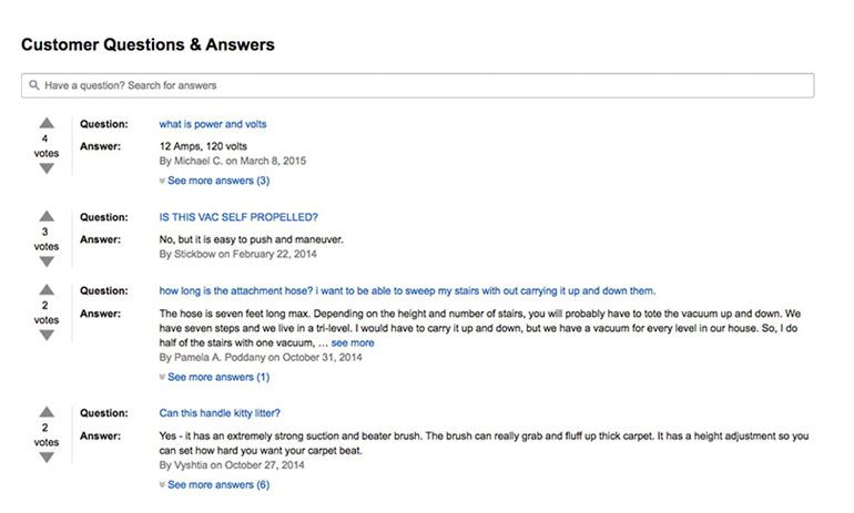 Amazon Example of Answers Concerns